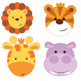 Jungle maskers Animal Friends 8 st.