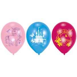 Eenhoorn roze, licht blauwe en fuchsia ballonnen ø 22,8 cm. 6 st.