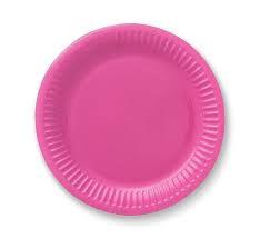 Roze wegwerp party gebakbordjes ø 18 cm. 6 st.