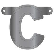Banner letter C metallic zilver