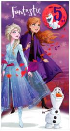 Disney Frozen 2 verjaardagskaart 5 jaar incl. button