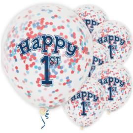 1st Birthday blauwe confetti ballonnen ø 30 cm. 6 st.