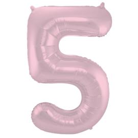 Folieballon cijfer 5 pastel roze 86 cm.
