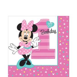 Disney Minnie Mouse 1e verjaardag servetten 33 x 33 cm. 16 st.