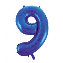 Folieballon cijfer 9 blauw 86 cm.