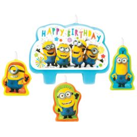 Minions taart kaarsjes set Happy Birthday