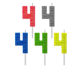 Lego Block Party taart kaars cijfer 4 - 5,5 cm. p/stuk