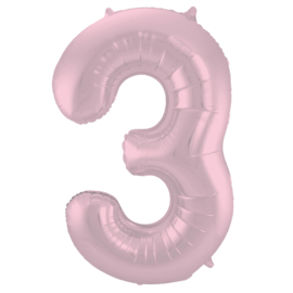 Folieballon cijfer 3 pastel roze 86 cm.