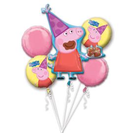 Peppa Pig folieballonnen boeket 5-delig