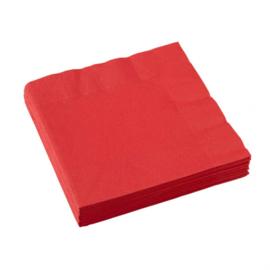 Servetten rood 33 x 33 cm. 20 st.