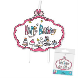 Jill happy birthday taart kaarsje 6 cm.