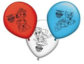 Paw Patrol ballonnen rood/wit/blauw ø 30 cm. 8 st.