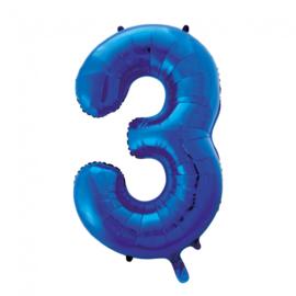 Folieballon cijfer 3 blauw 86 cm.