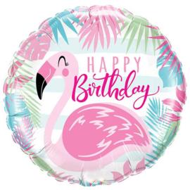 Flamingo folieballon happy birthday ø 46 cm.