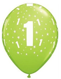 Leeftijd ballonnen stars lime groen 1 jaar ø 28 cm. 6 st.