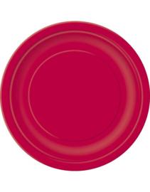 Rode wegwerp bordjes ø 22,9 cm. 8 st.