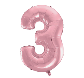 Folieballon cijfer 3 roze 92 cm.