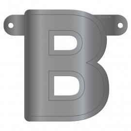 Banner letter B metallic zilver