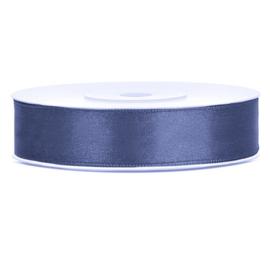 Satijn lint navy blue 12 mm. x 25 mtr.