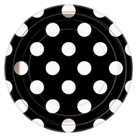 Zwart met witte stippen gebakbordjes ø 17 cm. 8 st.