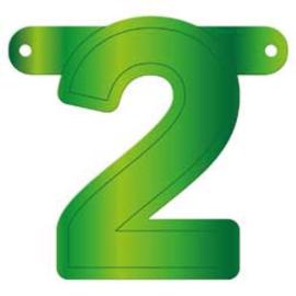 Banner cijfer 2 lime groen