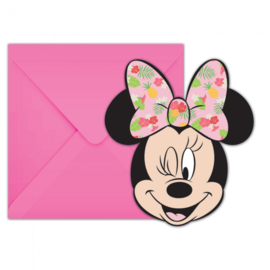 Disney Minnie Mouse tropical uitnodigingen 6 st.