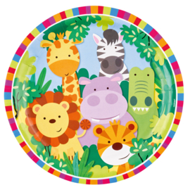 Jungle bordjes Animal Friends ø 22,8 cm. 8 st.