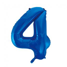 Folieballon cijfer 4 blauw 86 cm.