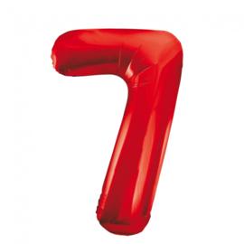 Folieballon cijfer 7 rood 86 cm.