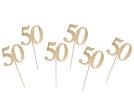 Prikkertjes cijfer 50 goud glitter 6 st.