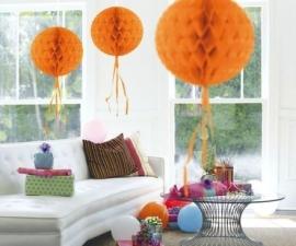 Honeycomb bal oranje ø 30 cm.