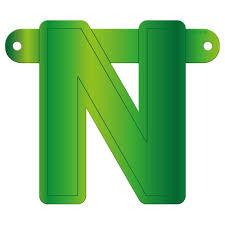 Banner letter N lime groen