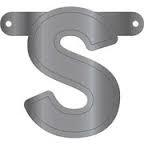 Banner letter S metallic zilver