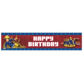 Brandweerman Sam happy birthday foliebanner 2,7 mtr.