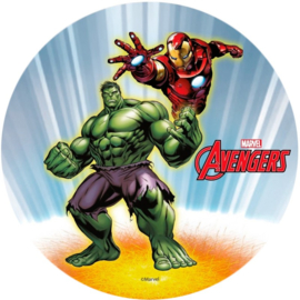 Avengers Assemble Hulk en Iron Man ouwel taart decoratie ø 20 cm.