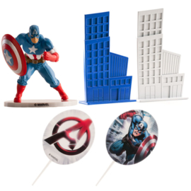 Captain America taart decoratie set M