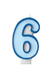 Taart kaars blauw 6 jaar 7,5 cm.