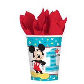 Disney Mickey Mouse 1e verjaardag bekertjes 266 ml. 8 st.