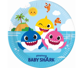 Baby Shark bordjes party ø 23 cm. 8 st.