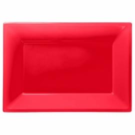 Rode wegwerp serveerschalen set 32 x 23 cm. 3 st.