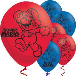 Super Mario Bros ballonnen blauw - rood ø 27,5 cm. 6 st.