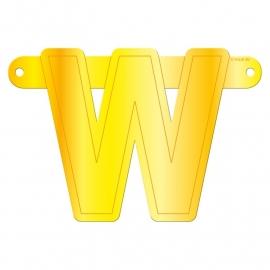 Banner letter W geel