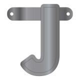 Banner letter J metallic zilver