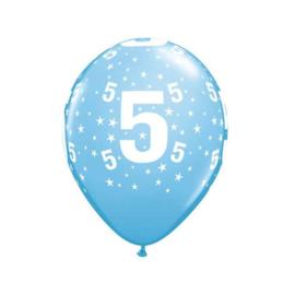 Leeftijd ballonnen 5 jaar licht blauw ø 28 cm. 6 st.