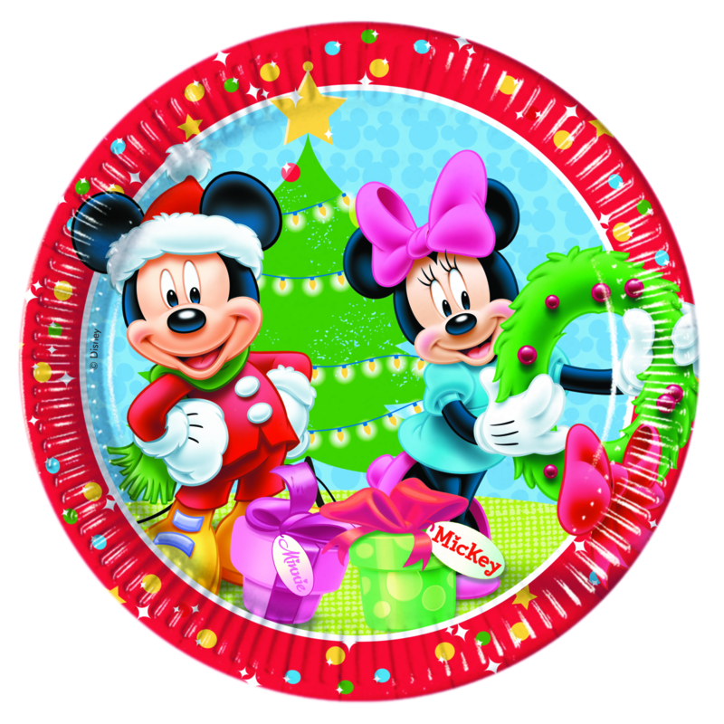 Disney Mickey Christmas bordjes ø 23 cm. 8 st.