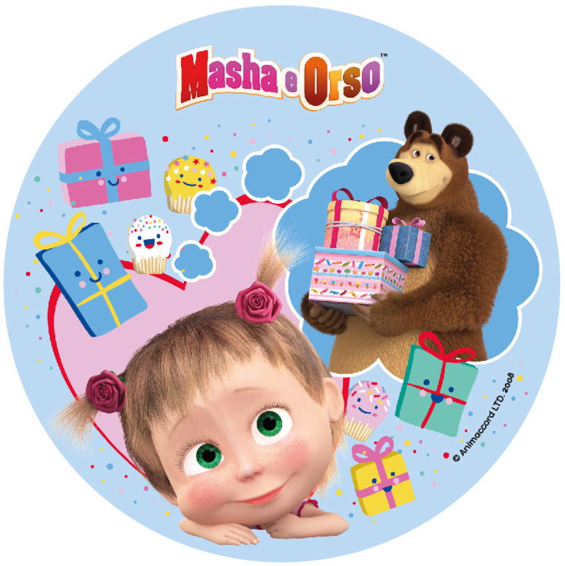 Masha and the Bear taart frosting decoratie ø 21 cm. C