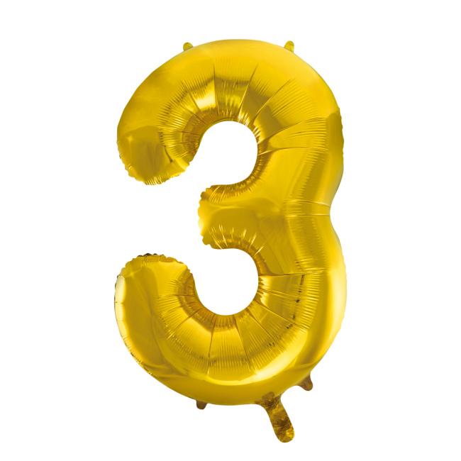 Folieballon cijfer 3 goud 86 cm.
