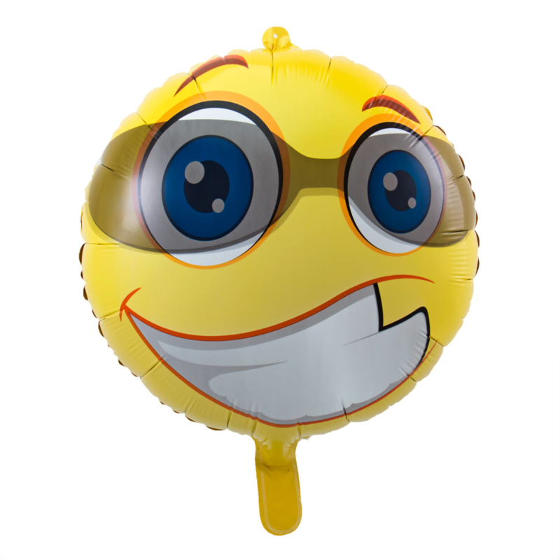 Folieballon emoticon met zonnebril ø 43 cm.