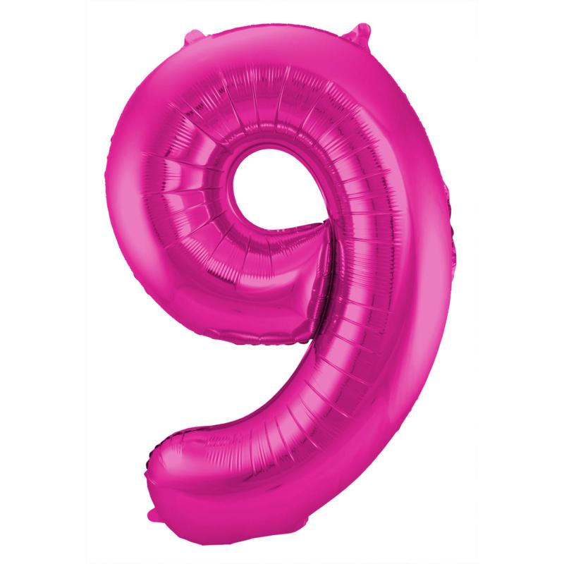 Folieballon cijfer 9 fuchsia 86 cm. (Folat)