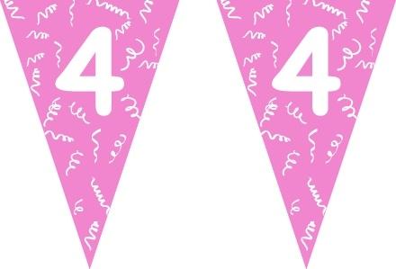 Vlaggenlijn roze 4 jaar 5 mtr.